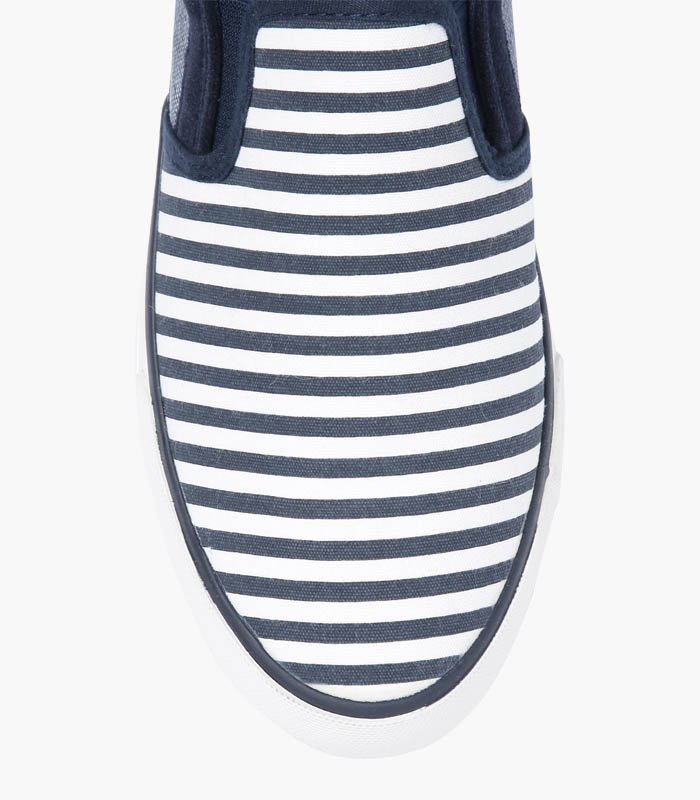 Men Navy & White Striped Shoes - Front